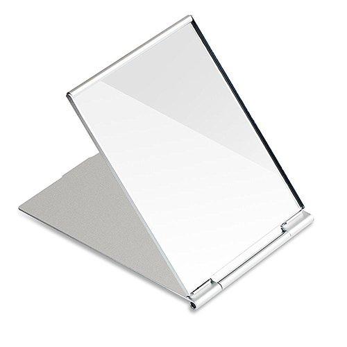 G2PLUS Reise Spiegel Taschenspiegel Zusammenklappbar Kosmetikspiegel Klappbar Spiegel für Rasieren Camping und Make-up 11.5 cm * 8.5 cm * 0.25 cm (Silber)