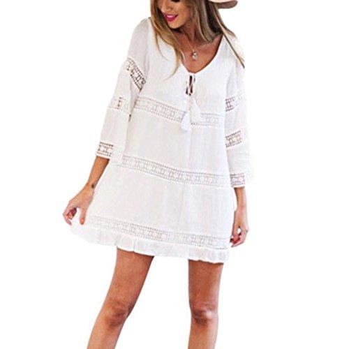 TUDUZ Elegant Damen Sommerkleid Strandkleid Rundkragen 3/4-Arm Boho Strand Kurzes Minikleid Partykleid Tunika Blusen Shirt Kleid (Weiß, M) -