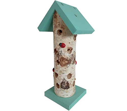 Dehner Natura Marienkäferhaus Ladybird, Ø 10 cm, Höhe 24 cm, Birkenholz, türkis/beige
