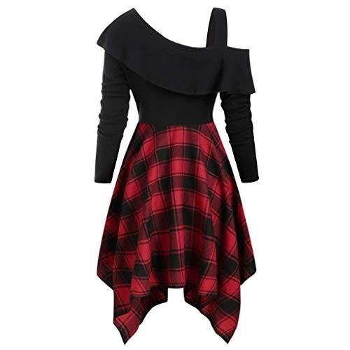 Sexy Plus Kostüm Größe Schneewittchen - Xuthuly Frauen Vintage Plaid Patchwork Skew Neck Plus Größe Belted Taschentuch Kleid Classic Off The Shoulder unregelmäßiger Saum Minikleid
