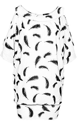 Jusfitsu Damen Sommer Schulterfrei Kurzarm Feder Druck Muster Tops T-Shirt Bluse Weiß