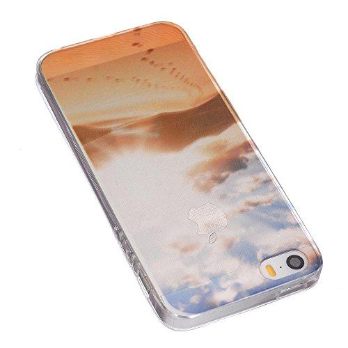ECENCE APPLE IPHONE SE / 5 5S SILIKON TPU CASE SCHUTZ HüLLE HANDY TASCHE COVER SCHALE DURCHSICHTIG 12010404 Wüste