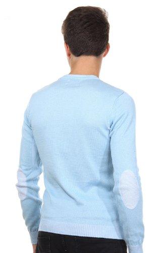 R-NEAL Pullover Rundhals slim fit hellblau/weiss