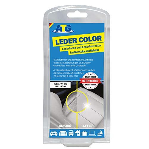 Lederfarbe Weiß mit Schwamm und Pinsel | Kratzer entfernen Kunstleder und Leder neuen Glanz geben -