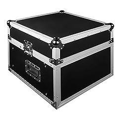 JV Case Professionelles (19 Zoll) DJ Flightcase stabiler 9mm Sperrholz Konstruktion mit abnehmbarem Deckel und Vorder Rückseite