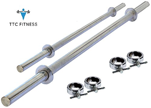 TTC Fitness Combo of 2 Rods(3 FT Plain and 5 FT Plain Barbell) 28MM with Locks