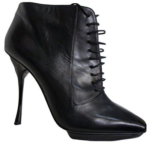 Lace Front-reißverschluss (Echtes Alle Leder Lace-Front (Seitlicher Reißverschluss) Plattform Stiefelette, Schwarz - Schwarz - Größe: 40)