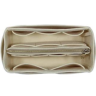 [Fits Artsy MM, Beige] Purse Insert (3mm Felt, Detachable Pouch w/Metal Zip), Felt Tote Bag Organizer