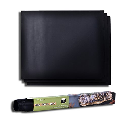 TTLIFE 3 Piezas Láminas Antiadherentes láminas Resistentes al calor para horno, grill, parrilla y barbacoa 15.8''x13' (negro)