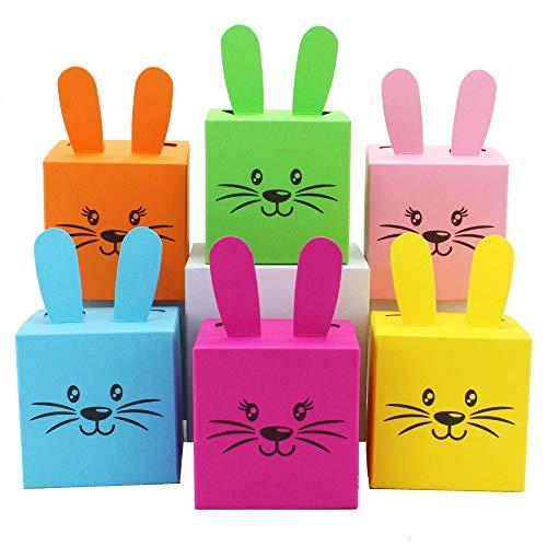 chenkboxen im Osterhasen-Design - Kisten mit Ohren, Pompom und Gesicht - 7cm x 7cm - bunt gemischt - Osternest für Kinder ()
