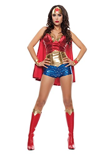 Dress Lady Fancy Kostüm - Starline Women's Wonder Lady Fancy Dress Costume X-Small