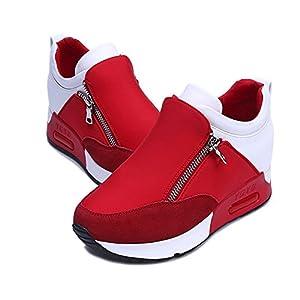 Damen Sneaker Mädchen Mode Laufschuhe Freizeit Leder Freizeitschuhe Sportschuhe mit Reißverschluss…