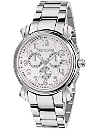 Roberto Cavalli Unisex Watch R7273672045 In Collection Anniversary, Chrono, Silver Dial and Stainless Steel Bracelet
