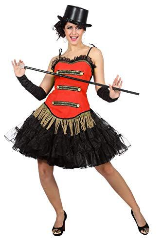 Wilbers Showkostüm Show Zirkus Tanz Korsett Kostüm Damen Rot Fransen Karneval Fasching Rot 42
