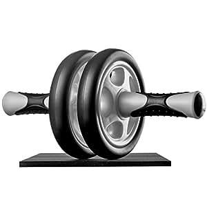 Ultrasport Attrezzo per addominali AB Roller, attrezzo fitness maneggevole e trainer per muscoli addominali - allena addome, muscolatura e schiena - ruota per addominali inclusi supporto per le ginocchia e istruzioni per gli esercizi, Nero
