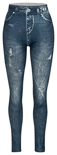 Piarini Damen Jeggings körperbetont | Winter Denim-Leggings warmer Innenfleece | Treggings mit Skinny Schnitt | Blau L/XL