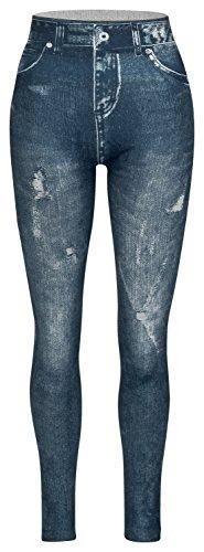 Piarini Damen Jeggings körperbetont | Winter Denim-Leggings Warmer Innenfleece | Treggings mit Skinny Schnitt | Blau L/XL