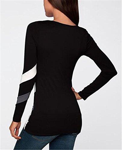 AILIENT Camicia Donna T-Shirt Elegante Primavera Manica Lunga Camicetta A Strisce Top Rotondo Collo Casual Maglietta Moda Blusa Black