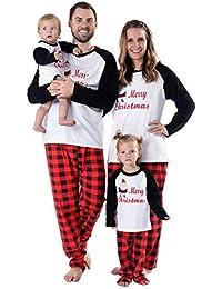 Baywell Ropa Navidad Familia Pijamas de Vacaciones a Juego Santa Impreso a Cuadros Ropa de Dormir Conjuntos de Ropa Xmas Pijamas Bebe Niñas Niño Padres Navidad
