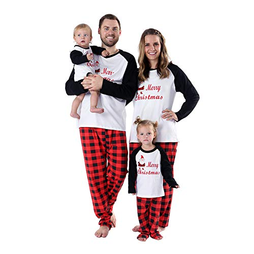 (Baywell Weihnachts Schlafanzüge Familie Pyjamas Set Familien Outfit Mutter Vater Kind Baby Nachtwäsche Langarm Homewear Kinder, Mutter, S/165)