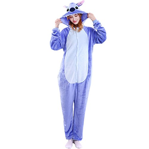 WOWcosplay Jumpsuit Tier Cartoon Fasching Halloween Kost¨¹m Sleepsuit Cosplay Fleece-Overall Pyjama Schlafanzug Erwachsene Unisex Kigurumi Tier ,Blau-Stich M (Warm Wetter Halloween Kostüme)