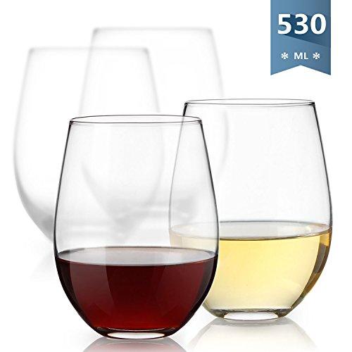 - 530ml Rotweinglas mit Hoher Kapazität, 4 Sets,wie Wein Gläser , Weißweingläser, Champagner Glas, Whiskygläser, Cocktailgläser, Saftglas, Trinkglas, usw. (Große Weihnachts-geschenk-boxen Mit Deckel)