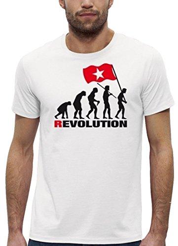 Premium Herren T-Shirt aus Bio Baumwolle EVOLUTION REVOLUTION Marke Stanley Stella White