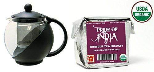 Cup Combo Pack (Organic Full Leaf Tea & Tea Pot w/ Removable Infuser Combo Pack (Half Pound Hibiscus Tea + 3-Cup Glass Tea Pot))