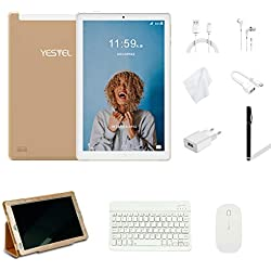 Tablette Tactile 10 Pouces Android 8.1 Tablettes avec 3 Go de RAM et 32 Go ROM, 4G LTE Dual SIM Call, 5,0 MP + 8,0 MP HD Camera et 8000mAH (WI-FI, Bluetooth)-Oro