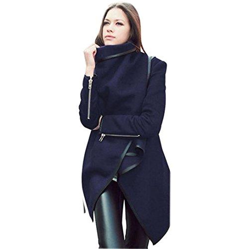 Sannysis Frauen Winter Warm Trenchcoat Lang Wolle Jacke Outwear Parka Cardigans (L, Navy) (Größe Stricken Pants Plus)