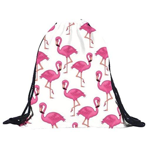 Longra 39cm * 30cm Poliestere Materiale superiore Donna Flamingo Stampa Borsa con coulisse Zaino Bianco Opción Barata Qr5US