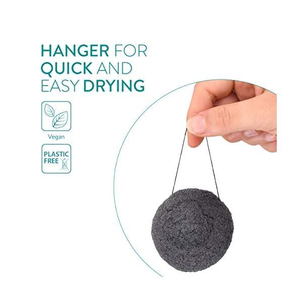 Navaris Set de 3x esponja de limpieza facial Konjac – Esponjas exfoliantes para todo tipo de piel – 100% natural vegana biodegradable y reutilizable