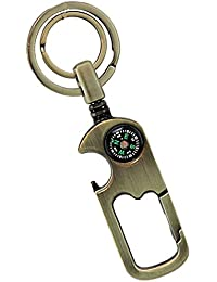 Premium Quality Golden Metallic Double Ring Straight Key Chain With Inbuilt Hook Compass & Bottle Opener