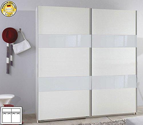 Schwebetürenschrank 417371 Kleiderschrank weiß / Weißglas 180cm