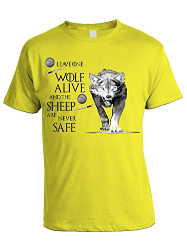 Tshirt Leave one wolf alive and the sheep are never safe - wolf - Game of Thrones - Il Trono di spade - serie tv - in cotone Giallo