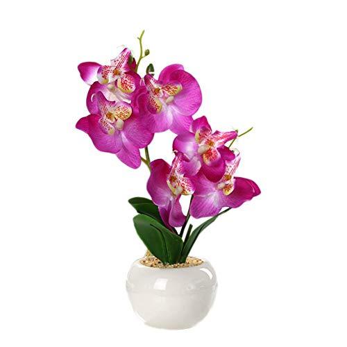 Clevoers - Vaso in Ceramica con Fiori Artificiali, in plastica, Finta Seta, Bouquet per Matrimonio, Festa di Giardino, Decorazione per la casa Violet