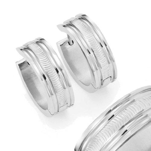Shiny Stainless Steel Men S Huggie Hoop Earrings Silver Striped