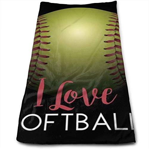 AllenPrint I Love Softball Super Soft, Machine Washable and Highly Absorbent,Towel(Face Towels,for Home, Gym or Sports), 31.5x51.2 Inches/80x130cm