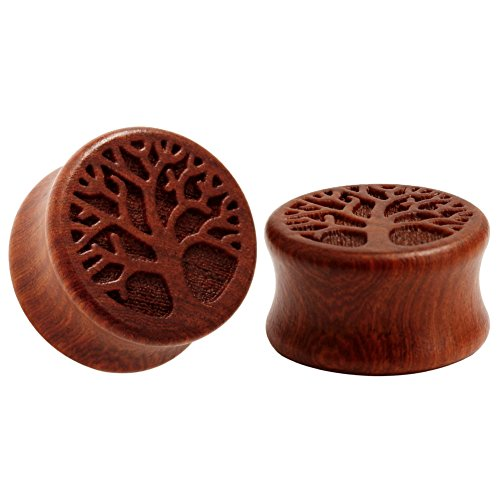 KUBOOZ Leben Baum Muster klassischen Holz Ohr Plugs natürliche rote Sandelholz Hand geschnitzte Ohrlochstechen 10-25mm - Klassische Hand Geschnitzte Holz