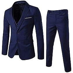 Allthemen Herren 3-Teilig Slim Fit Anzug Zwei Knöpfe Business Sakko Marine Blau XX-Large