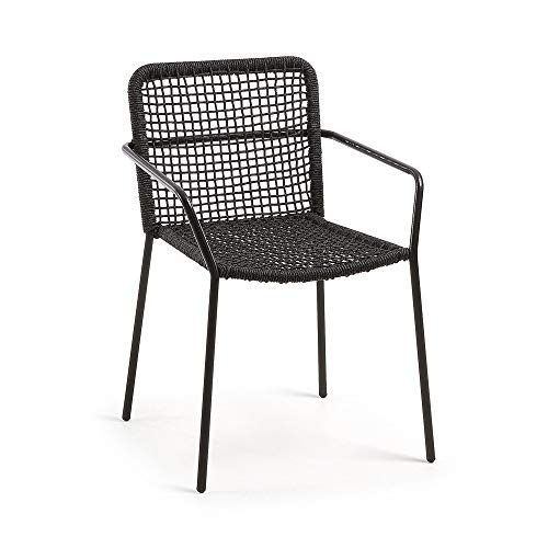 Kave Home Chaise avec accoudoirs Boomer Corde Noir et Pieds Acier Noir