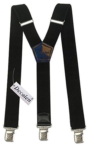 Bretelles Y entièrement réglable pour Homme / Femme – 4 cm avec 3 clips élastique Solide Casual Pantalon Jeans Différentes couleurs: Noir, Marron, Bleu