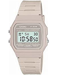 Casio Men's Beige Digital Watch with Resin Strap F-91WC-8AEF