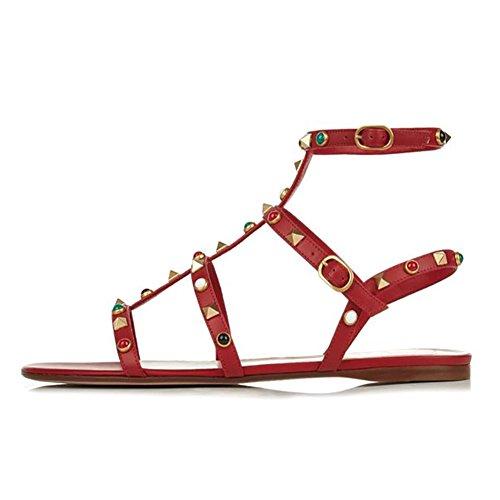EKS Damen Fllosacg Thin Straps mit Nieten Flache Ferse Casual Schuhe Dunkelrot-Stud 40 EU (Sandale Stud-flache)
