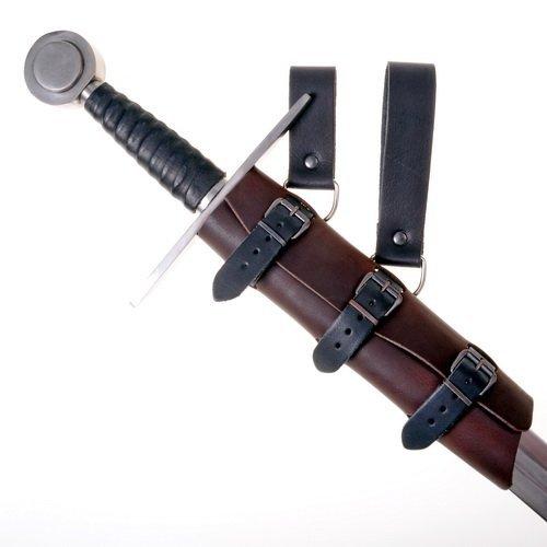 Schwerthalter im Stil des Mittelalters aus Leder mit Gürtelschlaufen und Schnallen Farbe schwarz