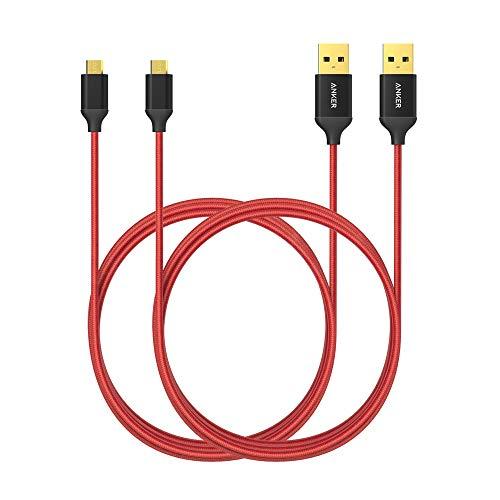 Anker Cavo Micro USB in Nylon [1.8 m - Confezione da 2] - Cavi Antigroviglio per Trasferimento Dati e Ricarica con Connettori Placcati in Oro per Android, Samsung, HTC, Nokia, Sony e Altri