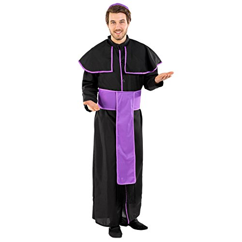 Herrenkostüm Priester Benedikt | tolles Gewand mit großem Kragen | schöne Knopfleiste | inkl. Gürtel und Scheitelkäppchen (XXL | Nr. 300481)