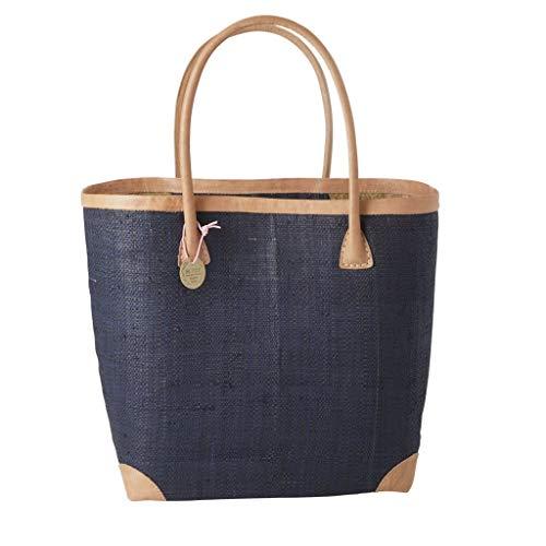 Rice Einkaufstasche groß Raffiabast mit Tragegriffen Leder Nachtblau