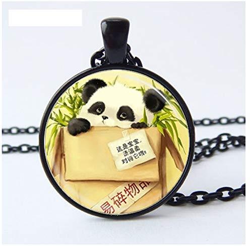 GUHUA Tier Schmuck, Panda Halskette, Baby Panda Halskette, Panda Bär, Asian Wildlife Art Anhänger, Glas Foto Cabochon Halskette - Asian Bar