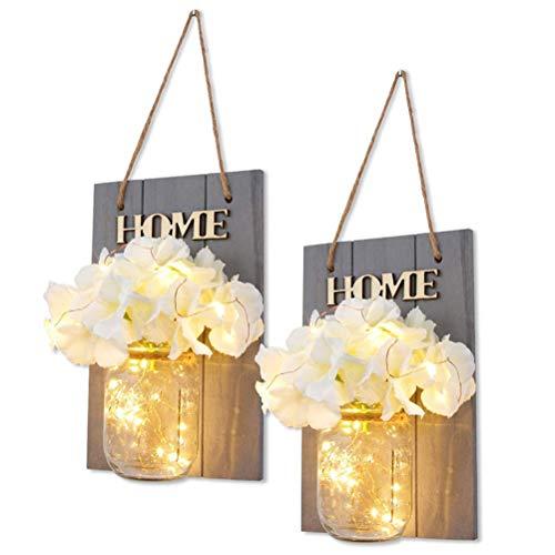 CaCaCook, portacandele Rustico da Parete, con luci LED e Ganci in Ferro battuto, Stile Vintage, Decorazione per la casa